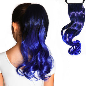 Raven dark blue to royal blue curly ombre Magic Tail ponytail extension for kids and teens