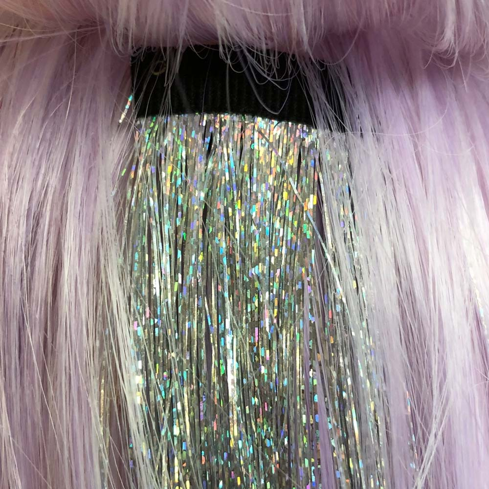Detailed image of hair tinsel clip-in extension