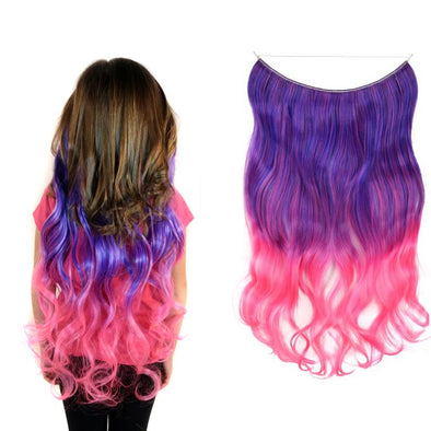 Tutti Fruity Purple/Pink Curly Ombre Halo Hair Extension