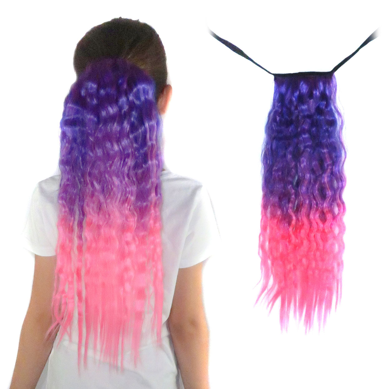 Wavy purple to pink ponytail hair extension for kids and teens