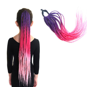 Purple , hot pink and pastel pink box braided style ponytail extension for kids and teens