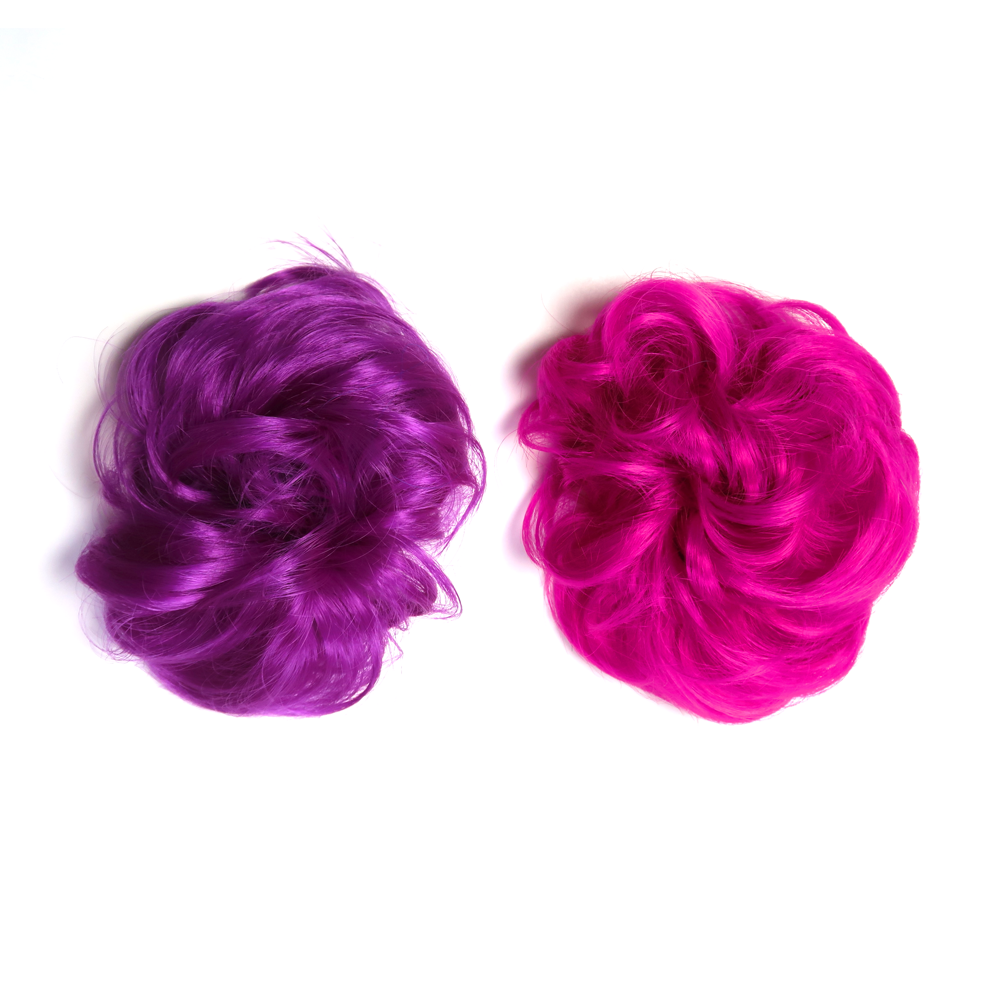 Hair extensions for curly bun or chignon hairstyle in bright purple and hot fuchsia pink