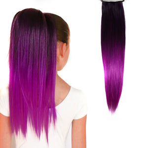 Violet Black/Vivid Purple Straight Ombré Ponytail Hair Extensions