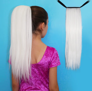 Straight white synthetic ponytail hair extension