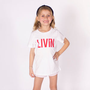 Kids Staple Tee - White by LIVIN