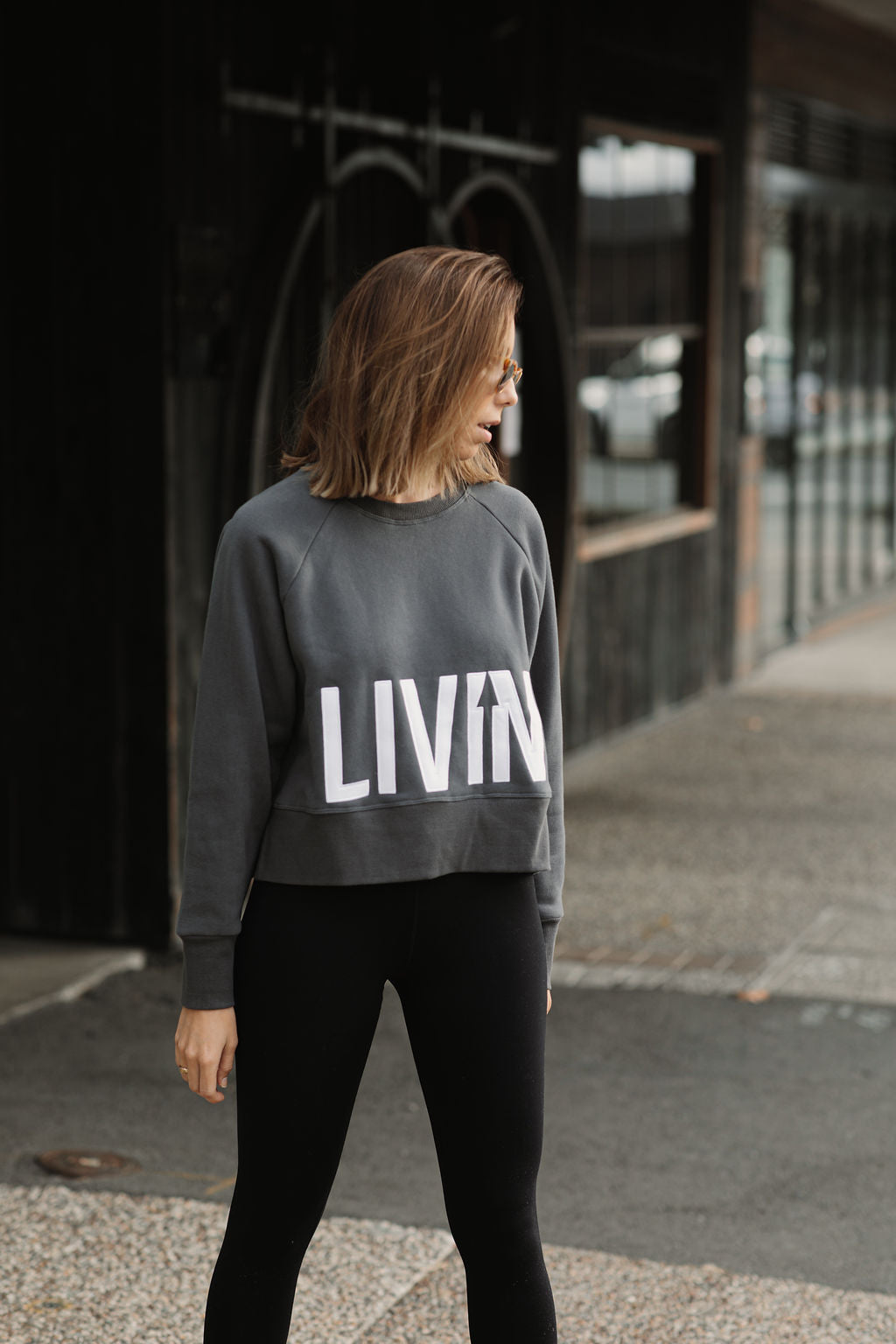 Cropped Logo Sweat by LIVIN