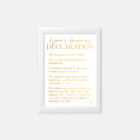 Women's Happiness Declaration | Gold Foil Art Print