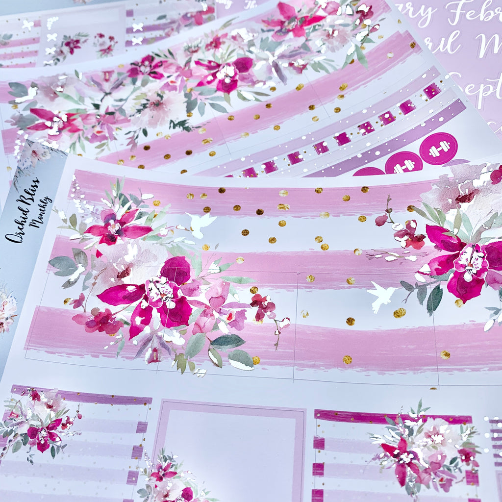 Orchid Bliss Monthly for Erin Condren with Silver or Silver Holo Foil