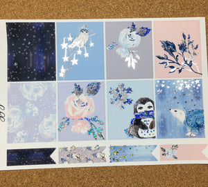 Winter Woodland for Happy Planner with Premium Silver Holographic Glitter Foil