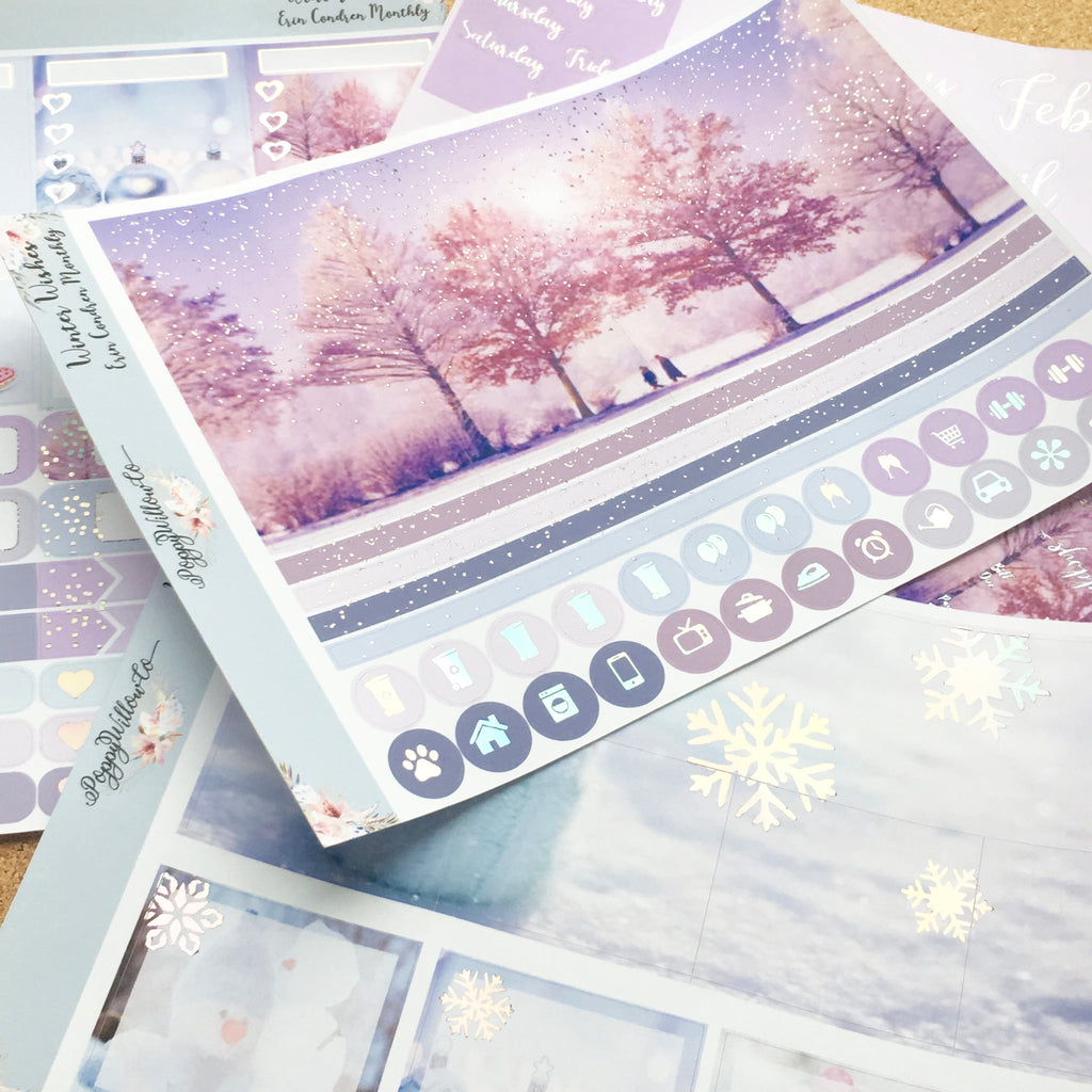 Winter Wishes Monthly for Erin Condren with Silver Holographic Foil