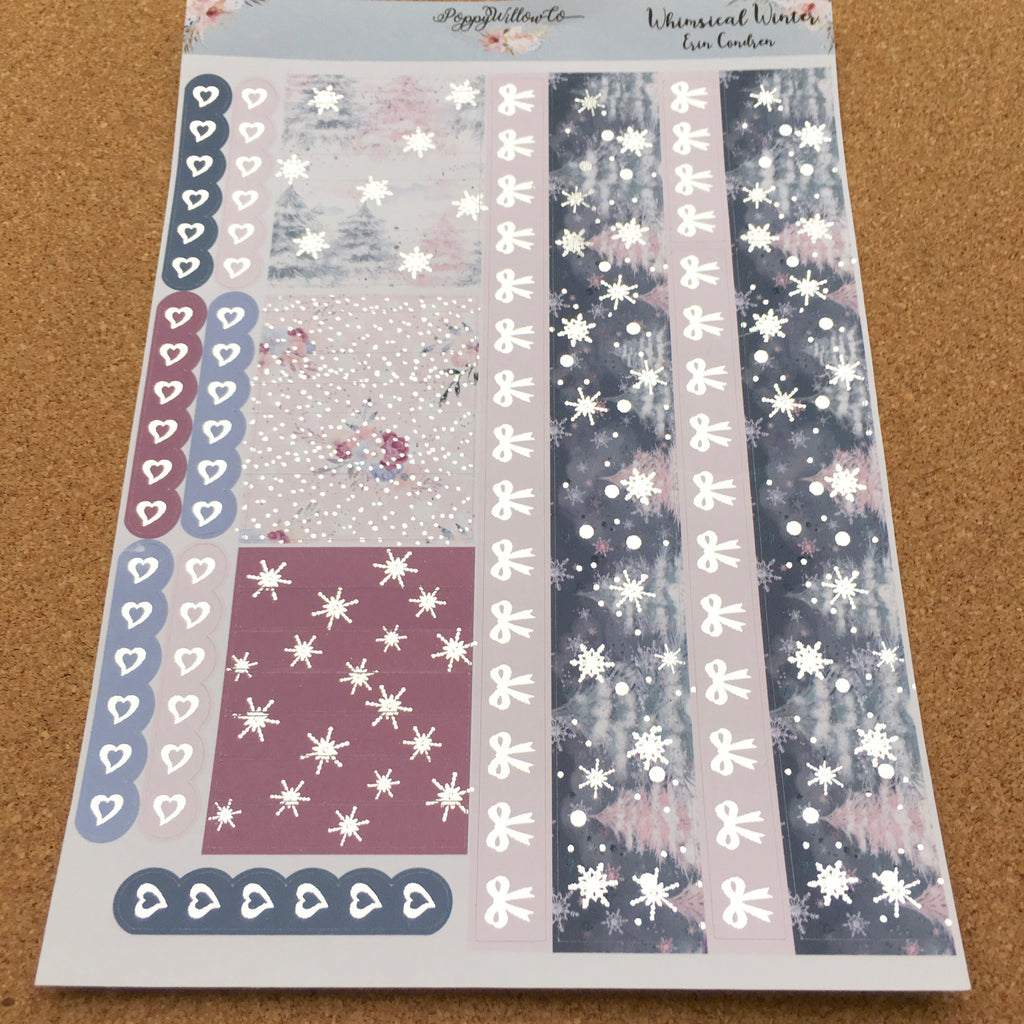 Whimsical Winter for Happy Planner with Silver Foil