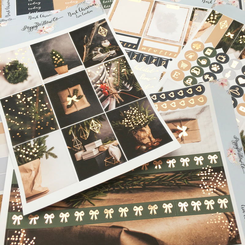 Dark Christmas for Erin Condren Vertical with Rose Gold Foil