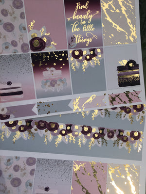 Cakes & Blooms with Light Gold Foil