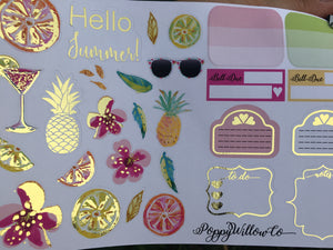 Hello Summer for Happy Planner with Gold Foil