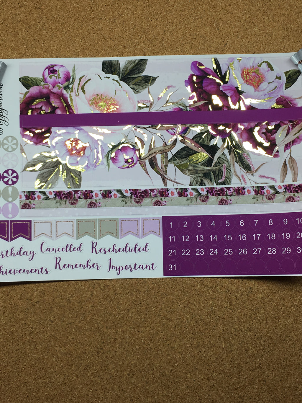 Burgundy Bliss Monthly for Happy Planner with Gold Foil