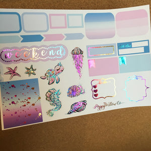 Under The Sea for Happy Planner with Premium Rainbow Glitter Foil