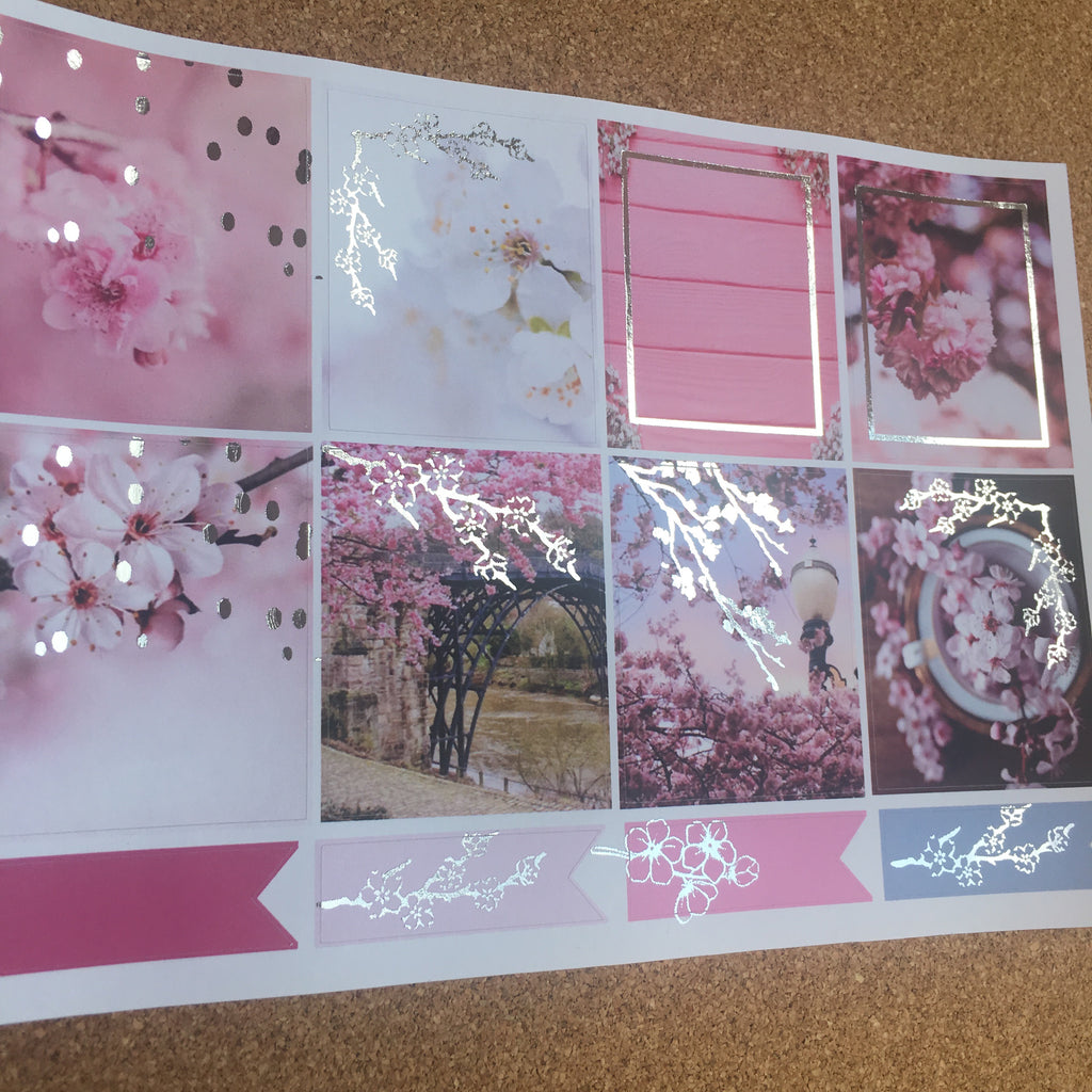 Blossom for Happy Planner with Silver Foil- Photography Set