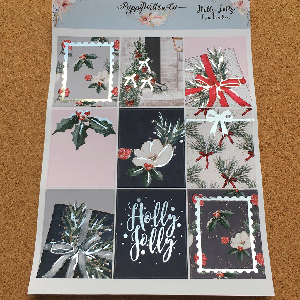 Holly Jolly for Happy Planner with Silver Foil