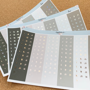 Foiled Deluxe Number Dots- Choice of Colourway and Foil