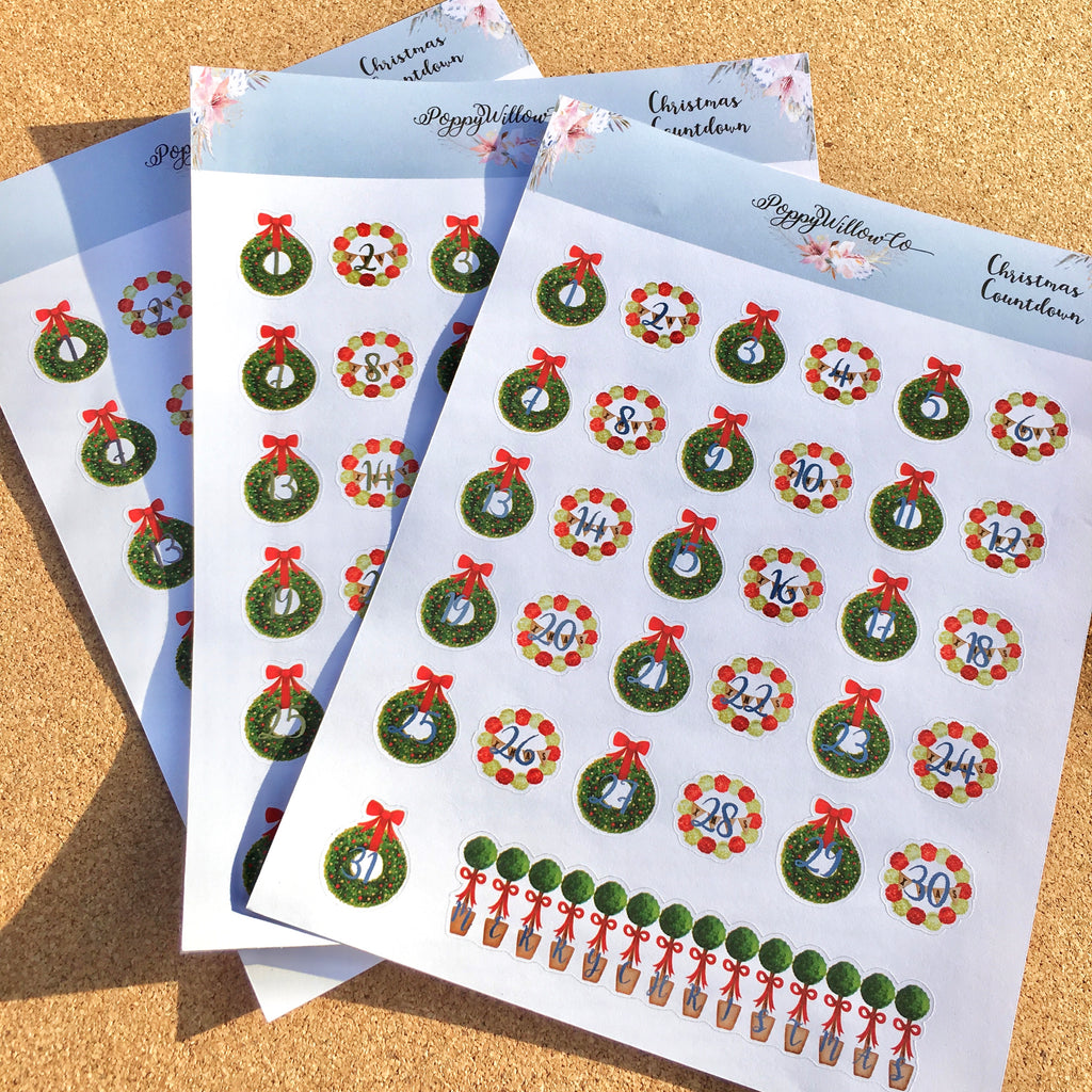 Christmas Wreaths Countdown Decorative Sheet with Choice of Foil Colours