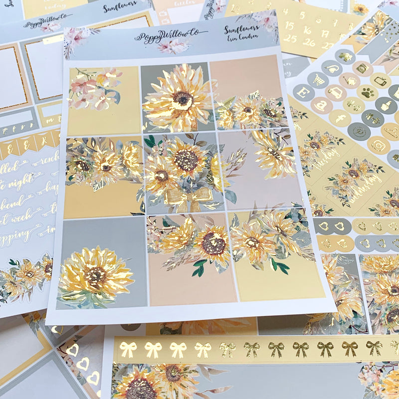 Sunflowers for Erin Condren with Gold Foil