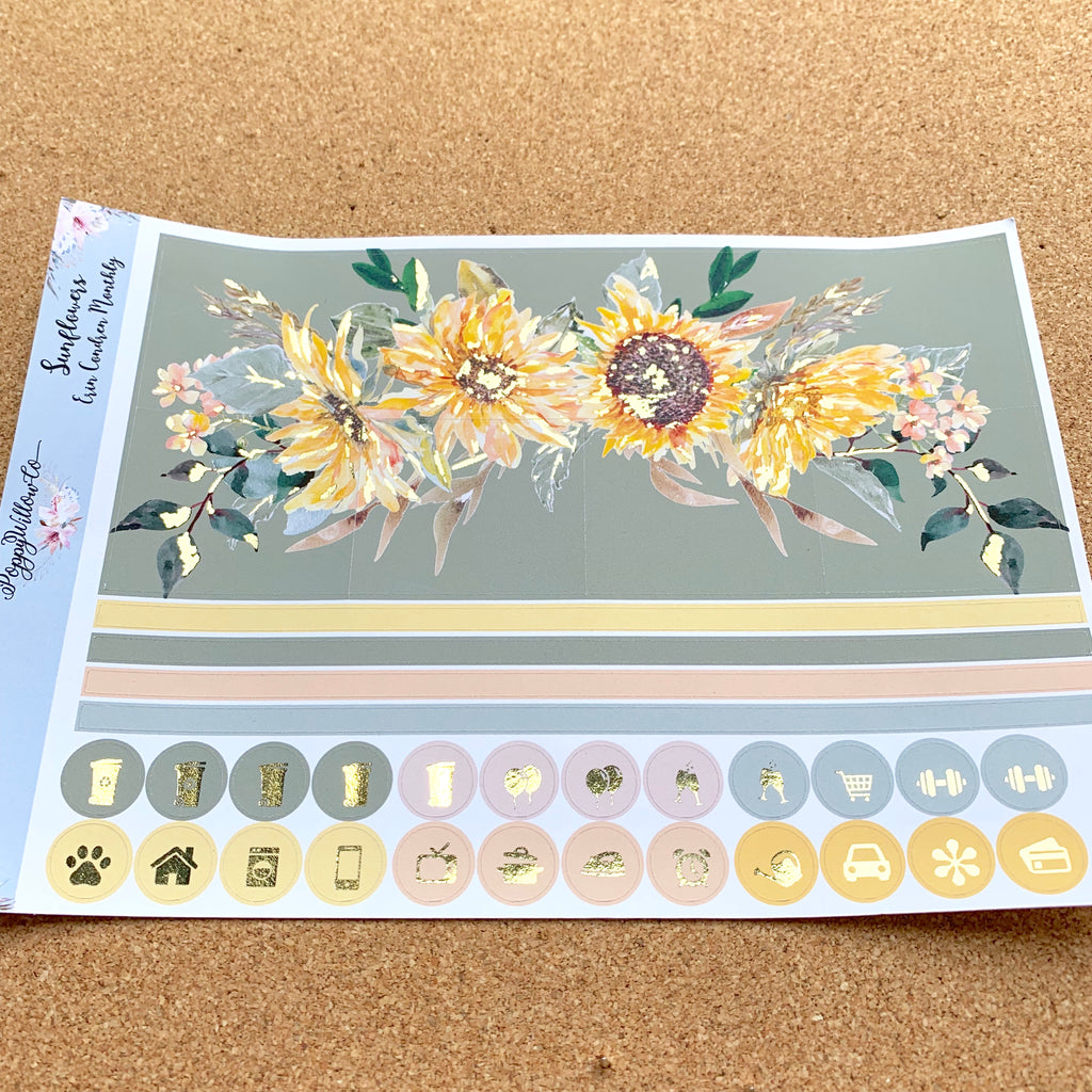 Sunflowers Monthly for Happy Planner with Gold Foil