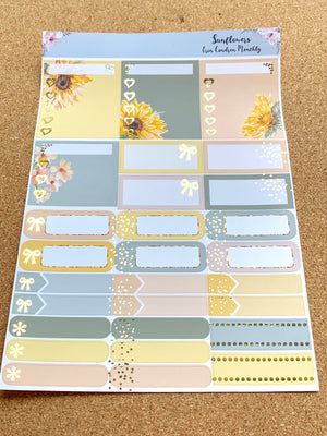 Sunflowers Monthly for Erin Condren with Gold Foil