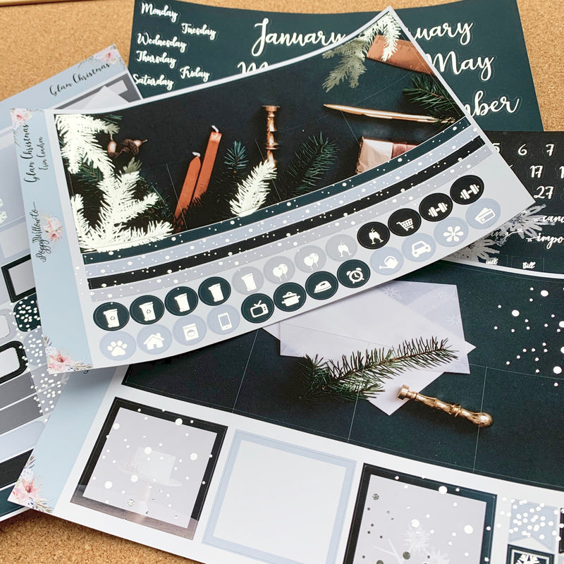 Glam Christmas Monthly for Erin Condren with Silver Foil