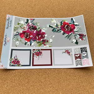 Christmas Rose Monthly for Erin Condren with Silver Foil