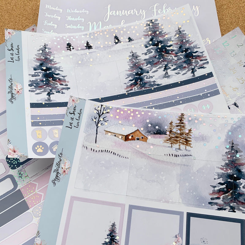 Let It Snow Monthly for Erin Condren with Premium Silver Holographic Foil