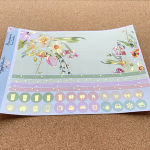 Narcissus Monthly for Happy Planner with Gold Foil