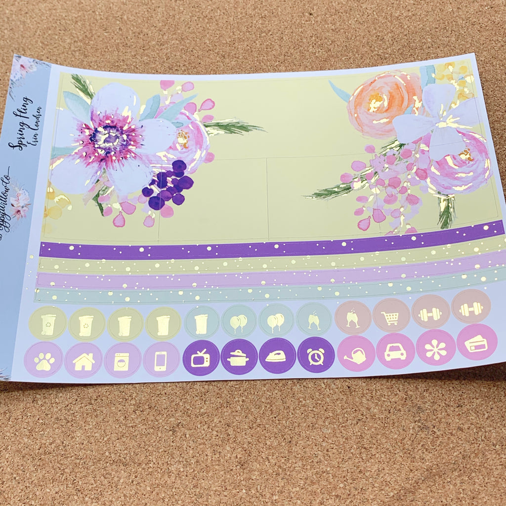 Spring Fling 2 Monthly for Erin Condren with Gold Foil