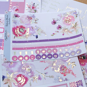 Delicate Flowers 2 Monthly for Erin Condren with Light Gold Foil