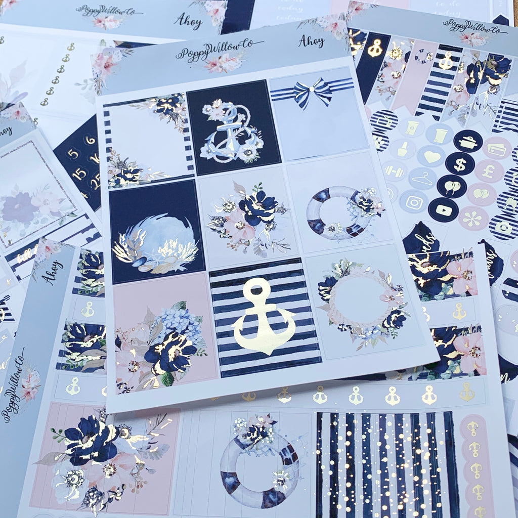 Ahoy with Silver or Light Gold Foil