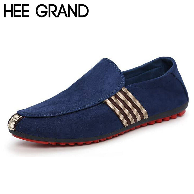 Slip-On Flat Breathable Casual Male Shoes, Striped Solid Summer Fashion