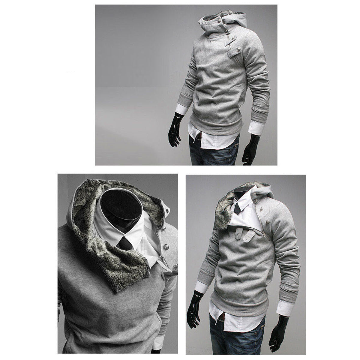 Slim Fit Men's Fleece Hoodie Jacket Sweatshirt