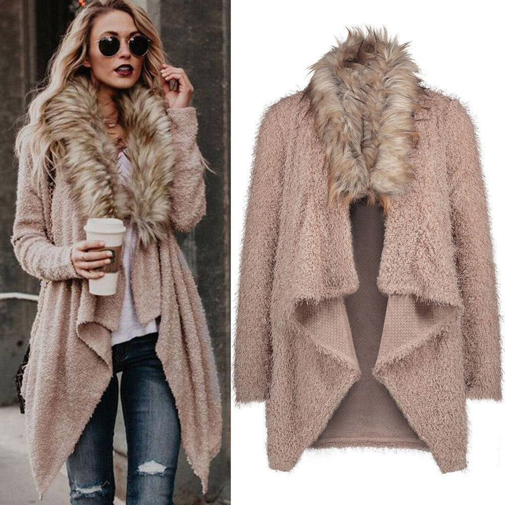Women Knit Long Sleeve Tops Cardigan Sweaters Parka