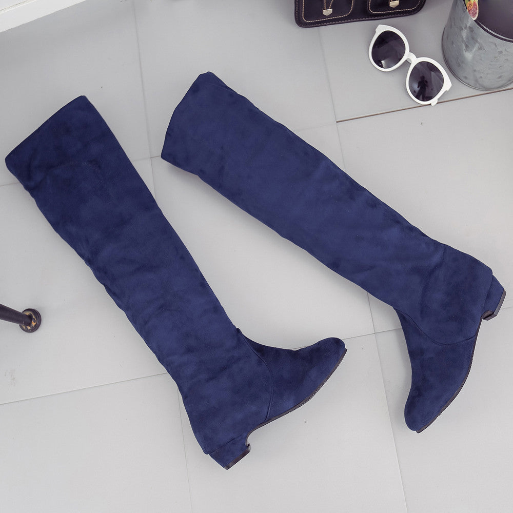 Women Winter Autumn Flat Boots Shoes High Leg Suede Short Long Boots
