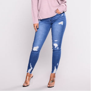 Ripped Fashion Jeans Women Classic High Waist Skinny Pencil Blue
