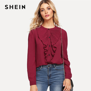 Burgundy Workwear Pleated Ruffle Trim Stand Collar Long Sleeve Solid Blouse