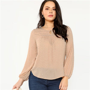 Office Casual Round Neck Stretchy Top Blouses