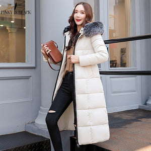 long parkas large fur collar hooded solid color