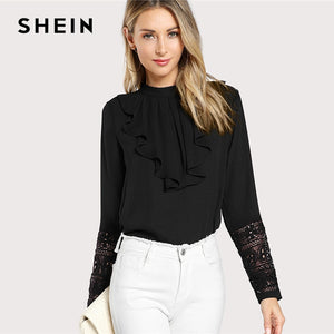 Black Neck Lace Cuff Ruffle Solid Blouse