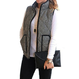 2018 New Women Casual Padded Vest With Zipper