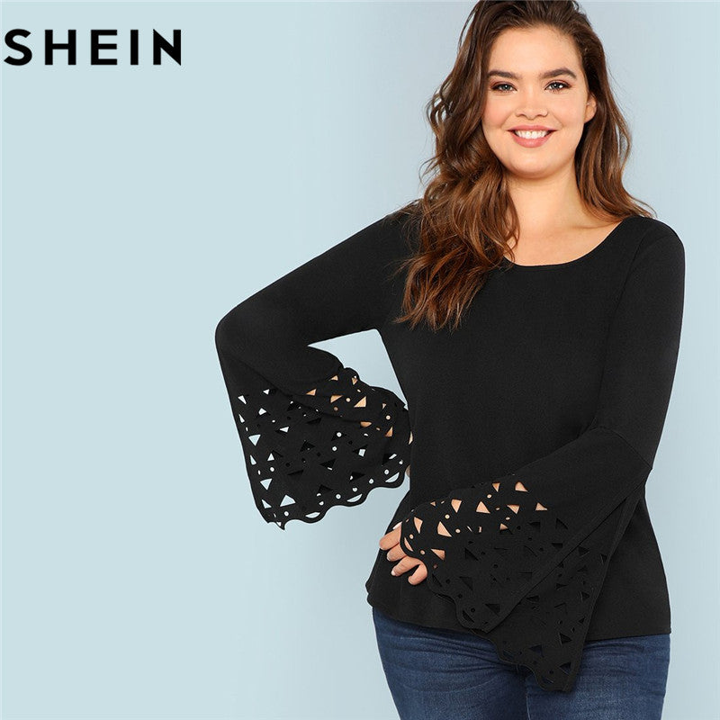 Solid Black Long Bell Sleeve Cut Out Cuff Plus Size