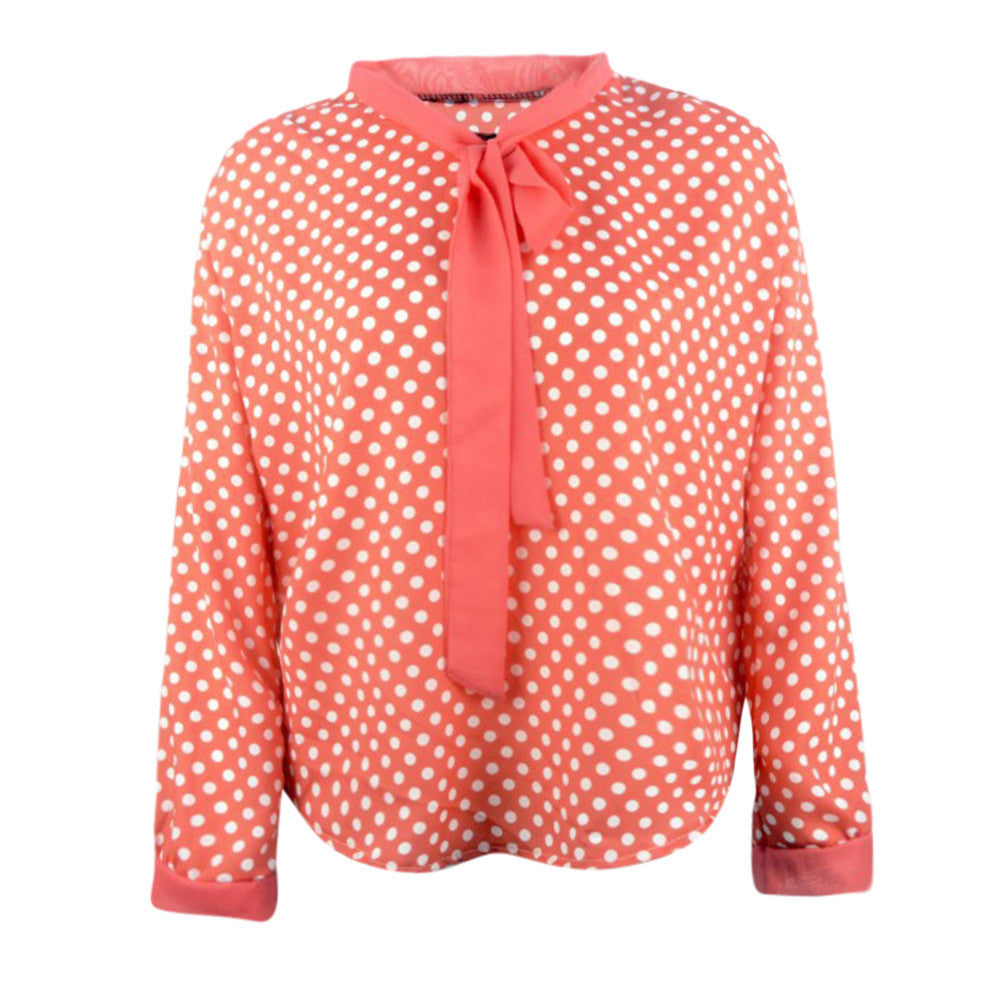 Women Long Sleeve av-Neck Dots Blouse Top