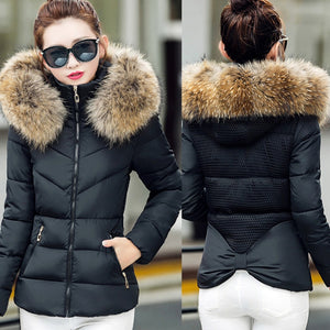 Winter Big Fur Collar Hooded Coat Womans Jacket Thick Warm Wadded Parka