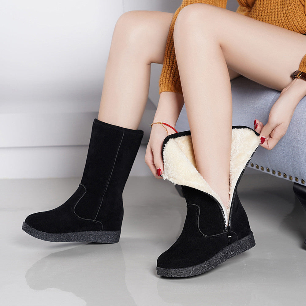 Flat Low Zipper Middle Tube Boots