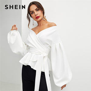 White Lantern Sleeve Off the Shoulder Solid Blouse