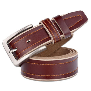 new fashion cowhide leather men's belt pin buckle